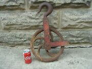 Antique Cast Iron Pulley 12 Inch Pulley, Stamped Vulcan 8, Well, Barn Farm Use