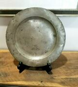 13 6/8 Antique Pewter English Charger Plate Circa 1780 Crowned Rose