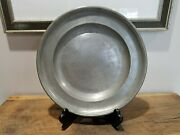 14 Antique Pewter Charger Bowl Plate With Initials Pf - 1693 Mark