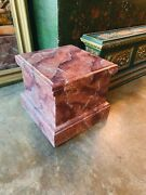 Neoclassical Style Painted Faux Marble Wood Pediment Pedestal