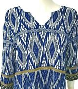 New/tag800-st. John Knit Top. Size Large. Blue/multi.graphic Print. 3/4 Sleeve