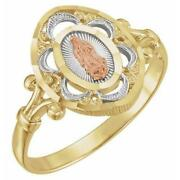 14k Yellow Rose And White Gold Our Lady Of Guadalupe Ring