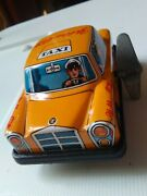 Yellow Taxi Cab Tin Litho Metal Wind-up Toy Car Vintage Japan Works