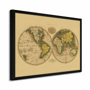 1795 World Map Poster - Framed Vintage Map Of The World Wall Art Poster Tan