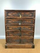 11.4 Antique Old China Huanghuali Wood Hand Carved Flower Bird Five Dou Chests