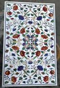 30 X 48 Inches Marble Coffee Table Top Inlay Multi Color Gemstones Island Table
