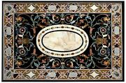 36 X 60 Inch Marble Dining Table Top Inlay Floral Design Coffee Table For Hotel