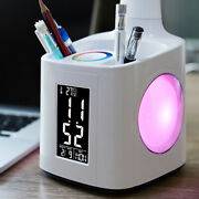 New Dimmer 3-level Desk Table Lamp With Fan Night Light Pen Holder Thermometer