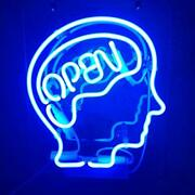 Neon Signs Open The Brain Blue Handmade Real Glass Tube Neon Lights Sign For A