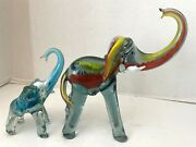 2 Hand Blown Art Glass Elephants 9 ½ And 6 ½ Raised Trunks 1960s Mexico Mcm