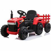 Tobbi 12v Kids Battery-powered Ride On Toy Tractor With Trailer Red Used