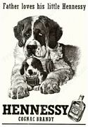 1950s Hennessy Cognac St. Saint Bernard And Puppy With Barrel New Poster 16x24