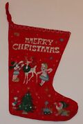 1950s Or 1960s Disney Christmas Stocking 15 X 10 Mickey Mouse Donald Duck Tree