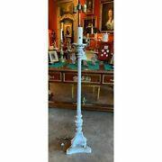 Baroque Style White Wood Torchiere Floor Lamp With Paw Feet