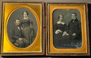 Qty Two Gurney 1/2 Plate Daguerreotypes Man And Woman In Each Shared Case