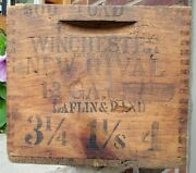 Rare Antique Winchester New Rival Advertising Box Crate Wooden Finger Jointed
