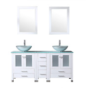 Walcut 60inch White Bathroom Vanity With Sink Combo Solid Mdf Cabinet With Silve