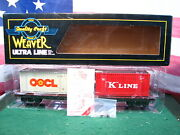 Weaver Prr Pennsylvania Rr O Scale 2-rail 50and039 Flat Car W Containers 469456 Mib