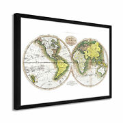 1795 World Map Poster - Framed Vintage Map Of The World Wall Art Poster White
