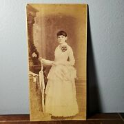 Large Cabinet Card Album Photo Of Gorgeous Woman In White Dress 1870-1880s