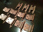 Lot Of 11 Vintage Copper Colonial Metal Cabinet Hinges