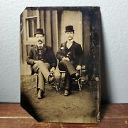 1920s 1/6 Plate Tintype Outdoor Photo Of 2 Well Dressed Men Wearing Bowler Hats