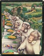 Indian Miniature Painting Of Monkey Ape Handmade Finest Old Artwork On Paper