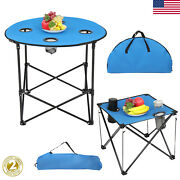 Camping Table Folding Portable Cup Holder Outdoor Picnic Fishing Bbq W/carry Bag