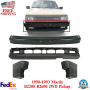 Front Bumper + Lower Valance + End Caps For 1990-93 Mazda B2200 B2600 Pickup 2wd