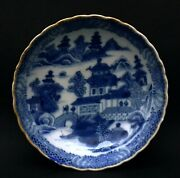Antique Chinese 18thc Hand-painted blue And White Fluted Dishes Restaured