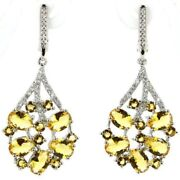 Beautiful Earrings Silver Sterling With Citrine For Wedding Party Origin Brazil