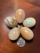 Lot Of 5 Vintage Carved Marble Stone Eggs Collector Eggs Small Eggs
