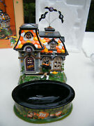 Dept 56 Halloween Mandmand039s Spooky House With Bats And Candy Dish 59319 Rare