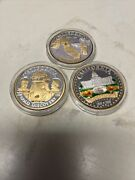 2000 Lot Of 3 1 Oz Silver Ag Treasures Of The U.s. California Gold Nugget Coin