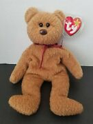 Rare Errors Ty Beanie Baby Curly The Bear, Brown Nose 1996