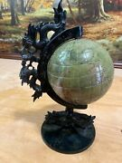 """Green Jade Globe With Dragon. Circumstance Is 14"""" And 10"""" Tall And 2.5 Lbs."""