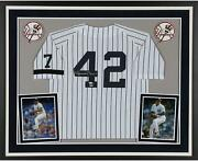 Mariano Rivera Ny Yankees Deluxe Framed Signed White Mitchell And Ness Jersey