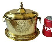 Antique Victorian Hand Chased Brass Tea Caddy Biscuit Jar Box Hinged Lid Ornate