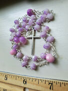 Anglican Rosary Pink Purple Hombre Cruciform Marbled Purple Glass Weeks Beads