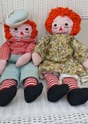 Vintage Raggedy Ann And Andy Dolls Looks Handmade 1940s
