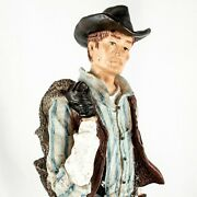 Vintage Montana Cowboy Getting For His Horse Riding Figurine Statue