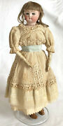 Antique 19th C. French Teen Fashion Doll With Kid Body And Blue Glass Eyes