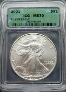 2001 Icg Ms70 Certified American Silver Eagle Dollar S1 - Nice Toning