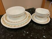 15 Piece Set Vintage Corelle Corning Butterfly Gold Complete 3 Person Dinnerware
