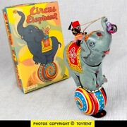 Circus Elephant With Native Rider Japan Wind-up Toy ... See Movie