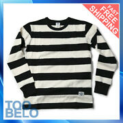 Non Stock Prison Striped Long Sleeve Tee Shirts Vintage Mens Motorcycle T-shirt