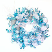 Turquoise White Silver Ornament Christmas Wreath For Front Door