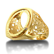 Jewelco London 9ct Gold St George Dragon Slayer Half Sovereign Mount Ring