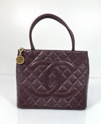 Caviar Leather Medallion With Gold Hardware In Dark Brown Tote Shoulder