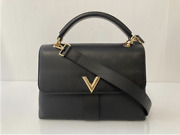 Louis Vuitton Cuir Plume And Cuir Ecume Leather Very One Handle In Noir Satchel